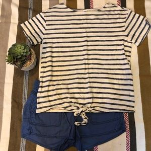 Navy Blue and Cream Striped Knotted Tee